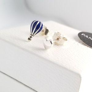 Pandora Hot Air Balloon & Heart Stud Earrings New